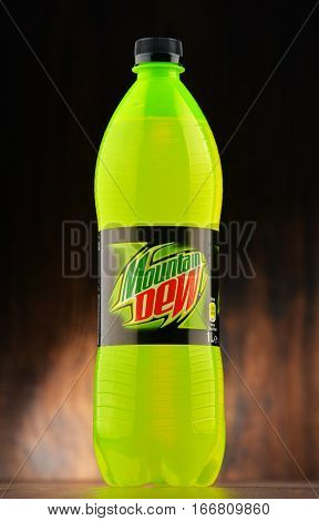POZNAN POLAND - JAN 18 2017: Mountain Dew is a brand of carbonated soft drink invented in 1940 now produced and owned by PepsiCo