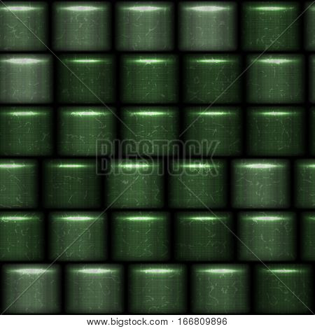 Green abstract shiny 3d metal oval cubes background