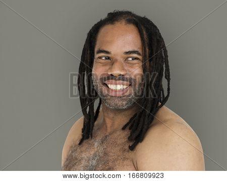 African Man Dreadlocks Bare Chest Smiling Portrait