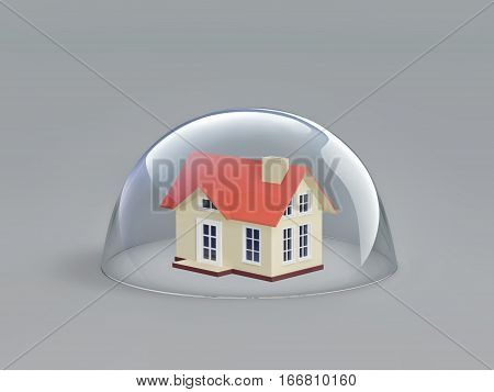 Home safety. House under glass dome. 3D rendering