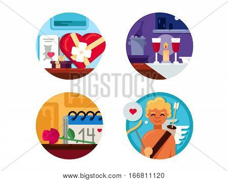 Valentine Day set. Gifts and romantic dinner. Vector illustration. Pixel perfect icons size - 128 px