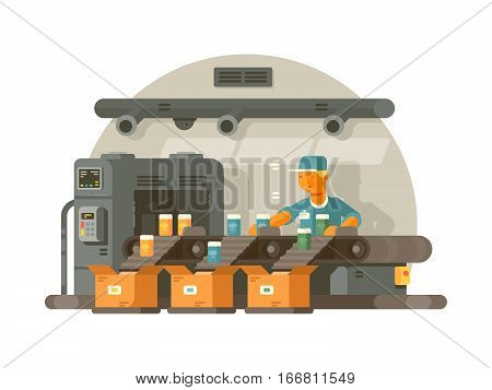 Sorting and packaging on conveyor. Factory worker standing on line. Vector illustration