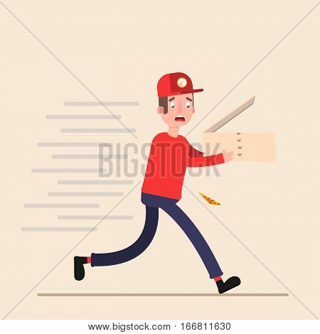 pizza deliveryman carries runs to make it in time to bring order. Flat. Vector.