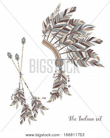 Indian Feather Headdress. Three Darts Decorated With Feathers.