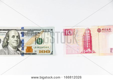 Close up view of US Dollar and Macau China Pataca indicating strong currency exchange rate