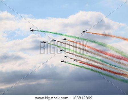 Exhibition of the Frecce Tricolori, the aerobatic demonstration team of the Italian Air Force, at the Air Show 2010 in Ferrara (Italy)