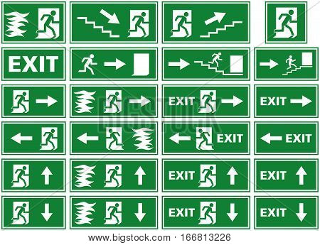 vector symbol set - emergency exit sign / fire alarm plate. Various illustrations of a person or man running towards an exit door, sometimes fleeing from flames, depicted by white silhouettes on a green background.