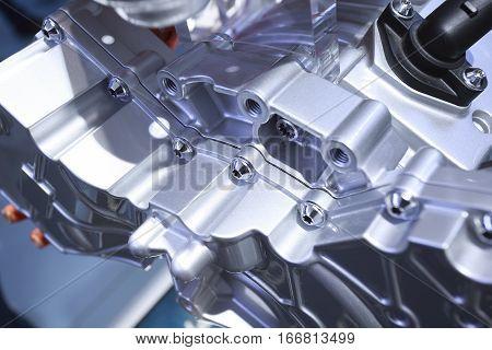metal motor auto engine of close up