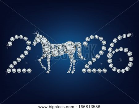 Happy new year 2026 creative greeting card with Horse made up a lot of diamonds