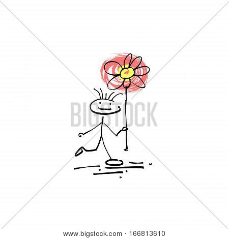 hand drawing sketch human smile stick figure flower, unique simple icon doodle cute miniature, vector illustration
