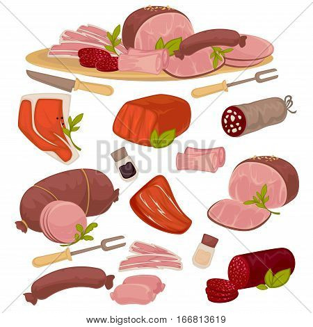 Set of different kinds of meat bacon, pork, beef, sausage, steak, salami and wurst. Vector illustration isolated on white background