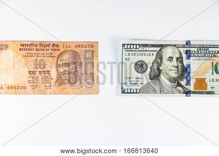 Close up view of US Dollar and India Rupee indicating strong currency exchange rate