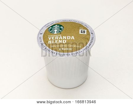 New York, January 5, 2017: A single Starbucks Veranda Blend coffee capsule for Keurig coffee machine is seen against white background.