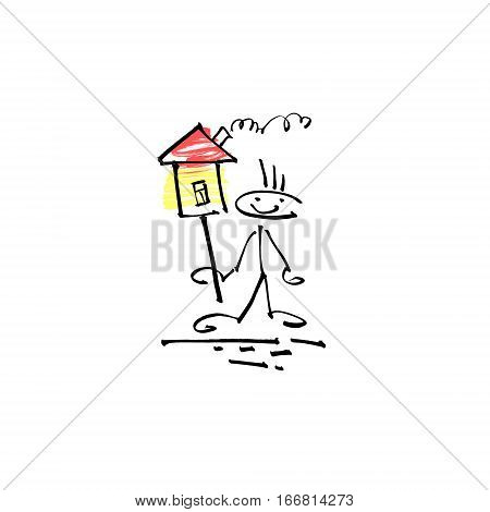 hand drawing sketch human smile stick figure with house sign, unique simple icon doodle cute miniature, vector illustration
