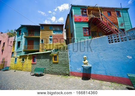 Buenos Aires Argentina - Nov 29 2016: Colorful buildings of Caminito street in La Boca neighborhood - Buenos Aires Argentina.