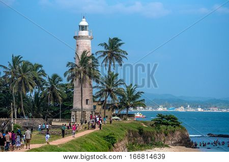 FORT, GALLE, SRI LANKA - CIRCA DECEMBER 2016: Scenic view with lighthouse at old colonial fort Galle in Sri Lanka