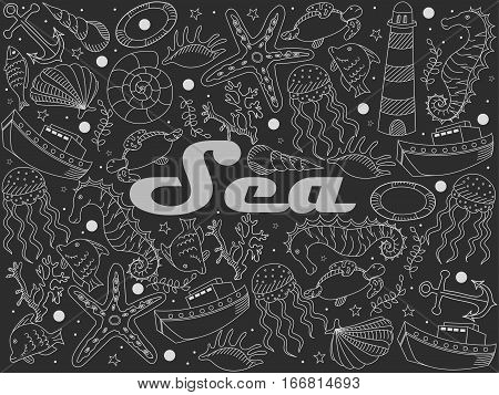 Sea chalky line art design vector illustration. Separate objects. Hand drawn doodle design elements.