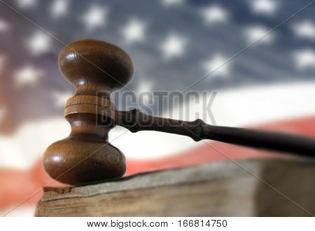 Gavel and book and American flag