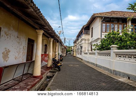 FORT, GALLE, SRI LANKA - CIRCA DECEMBER 2016: Scenic view of streets at old colonial fort Galle in Sri Lanka