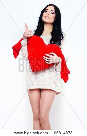 Smiling Pretty Sexy Girl With Red Valentines Pillow In Nightie