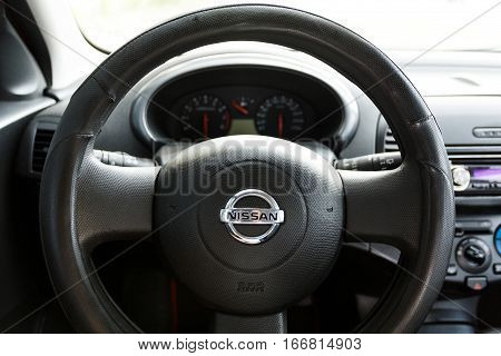 DNIPRO UKRAINE - AUGUST 10 2016: NISSAN MICRA WHEEL CLOSE