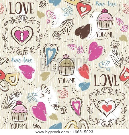 Beige seamless patterned background with red and blue valentine heart and wishes text vector illustration. Ideal for printing onto fabric and paper or scrap booking.