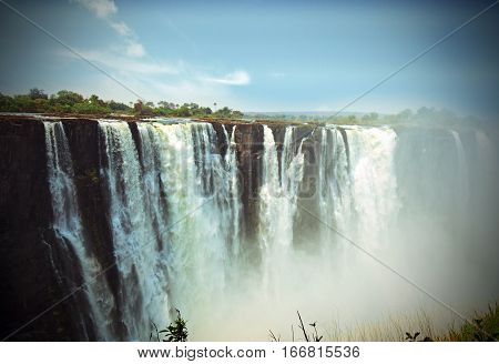 Lomo effect of Victoria Falls taken from Zimbabwe side, with a vignetted edge