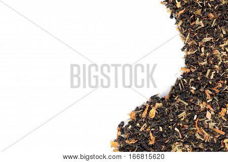 organic tea with lemon and flowers making border