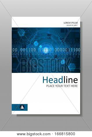 Futuristic circles with internet and business interface background with numbers. Infographic data. Head-Up Display HUD. Cover design A4. Journals portfolio monographs and magazines. Vector.