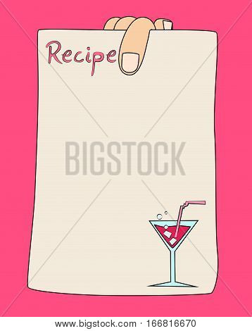Vector cartoon hand holding recipe card template with coctail.