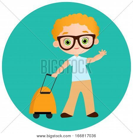 Young Boy With Glasses And Packsack Travel. Travelling With The Knapsack. Vector Illustration Eps 10
