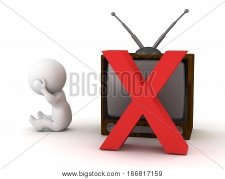 A 3D character and a retro television with an x. Isolated on white background.