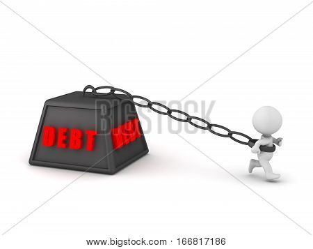 A 3D character is being held back by a large debt weight. Isolated on white background.