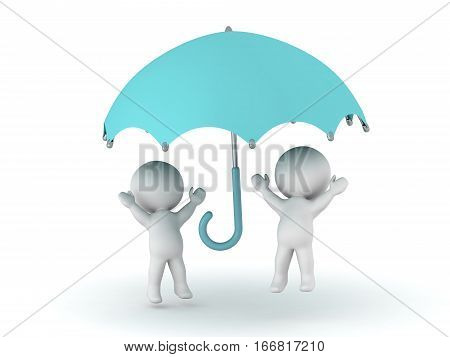 Two cheerful 3D characters under an umbrella. Isolated on white background.