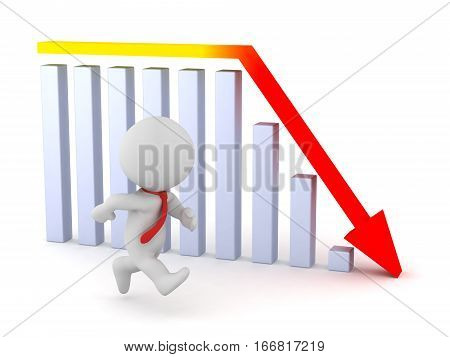 A 3D character businessman is running but a statistics bar chart is showing a bad prognosis. Isolated on white background.