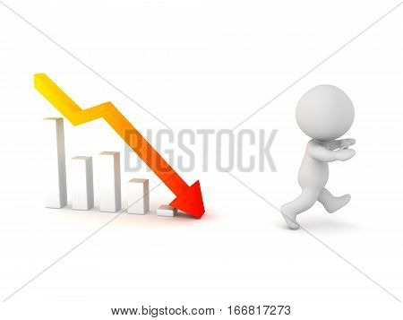 A 3D character running away from a chart with a bad forecast. Isolated on white background.