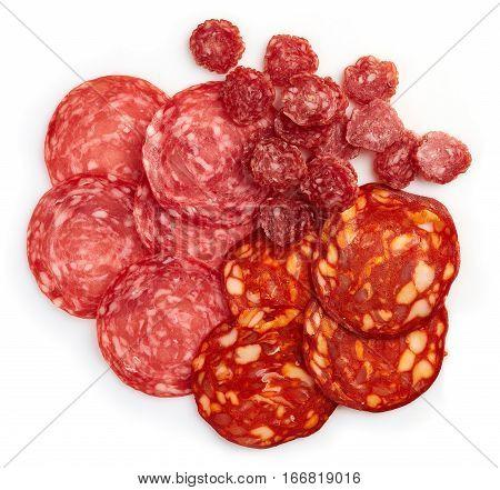 Slices Of Chorizo Sausage And Salami
