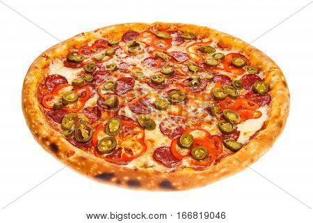 Delicious classic italian Burning Pizza with sausages pepper jalapeno sauce and cheese isolated on white background
