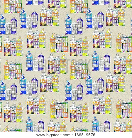 Netherlands houses hand drawn seamless pattern. Doodle background. Wrapping paper with Amsterdam city, urban style design. Decorative watercolor wallpaper, travel Europ. Old town, city center.