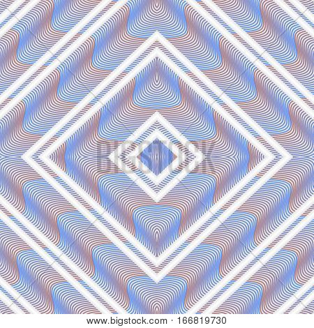 Decorative tile with rhomboid patterns. Wavy texture in white rhomb shapes. Repeatable tile with blue and orange wavy structure.