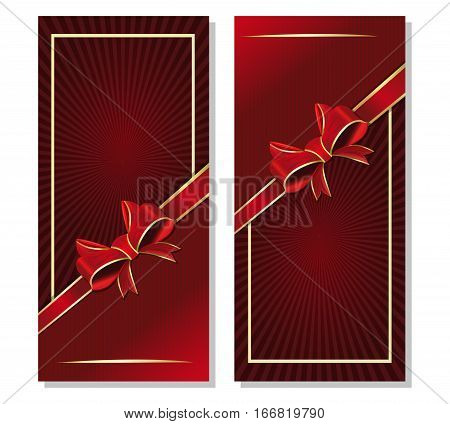 Dark red background with ribbon and bow for festive events. Set flyers template. Maroon romantic retro background with red ribbon and bow. Vector illustration