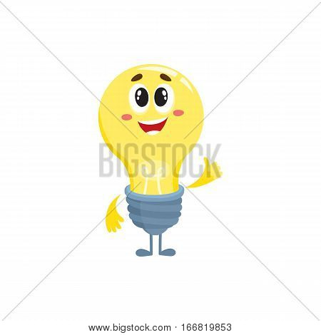 Cute light bulb character with funny face, showing thumb up cartoon vector illustration isolated on white background. Funny light bulb character standing with thumb up