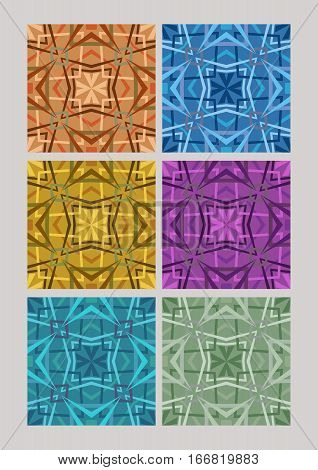 Set of geometric cubist patterns tiles in different color variants orange blue yellow purple green