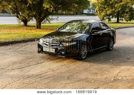 DNIPRO UKRAINE - OCTOBER 01 2016: HONDA ACCORD IN THE CITY