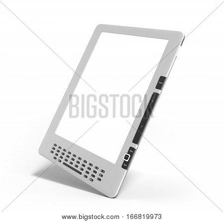 Blank E-book Reader 3D Render Image On White