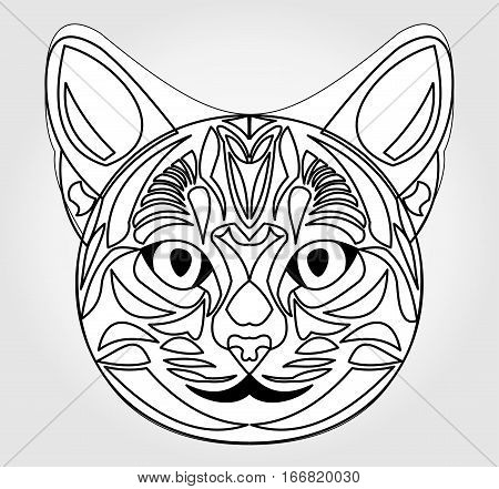 Cat head drawing. Symbol of sun god. Egyptian mythology symbol. Egypt sacred animal cat. Black and white cat head. Cat head tattoo template. Vector cat head.