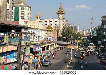 Mahabandoola road with at the end the pagoda of Sule Paya at Yangon on Myanmar