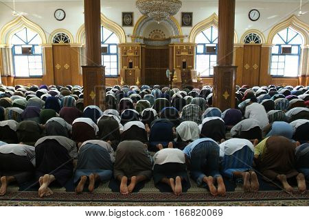 Belivers praying at the mosque of Bengali Sunni Jamae at Yangon on Myanmar