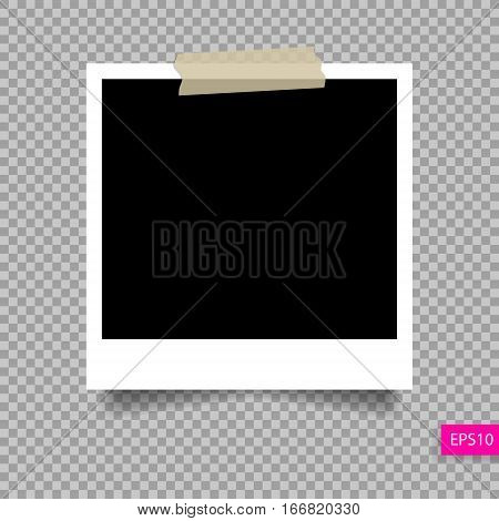 retro polaroid photo frame  template on sticky tape pin with shadow isolated on transparency background, vector illustration eps 10