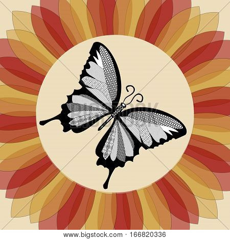 Butterfly in flower shape. Monochrome butterfly. Butterfly drawing. Nostalgic decoration. Vintage butterfly. Nostalgic colored flower. Retro decoration with butterfly.
